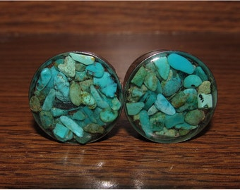 Turquoise Stone Plugs - 00g, 7/16, 1/2, 9/16, 5/8, 3/4, 7/8, 1 Inch, 26mm