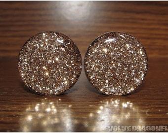 Gold Glitter Plugs - 2g, 0g, 00g, 7/16, 1/2, 9/16, 5/8, 3/4, 7/8, 1 Inch, 26mm - 2 Styles!