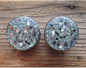 Silver Stars of Sirius Glitter Plugs -  0g, 00g, 7/16, 1/2, 9/16, 5/8, 3/4, 7/8, 1 Inch, 26mm