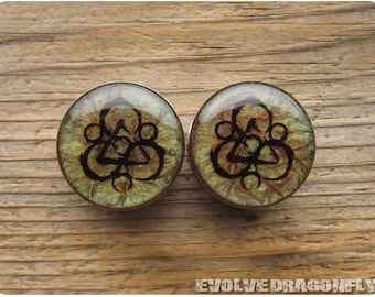Coheed and Cambria Keywork Plugs - 0g, 00g, 7/16, 1/2, 9/16, 5/8, 3/4, 7/8, 1 Inch, 26mm - CUSTOMIZABLE