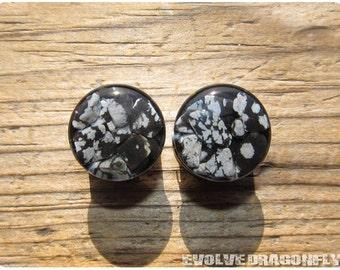 Snowflake Obsidian Stone Plugs - 00g, 7/16, 1/2, 9/16, 5/8, 3/4, 7/8, 1 Inch, 26mm
