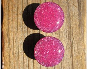 Hot Pink Neon Glitter Plugs - 2g, 0g, 00g, 7/16, 1/2, 9/16, 5/8, 3/4, 7/8, 1 Inch, 26mm