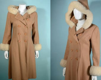 Vintage 70s Wool Hooded Coat Shearling Sheepskin Trim, Boho Hippie Mod Double Breasted Midi Coat S