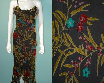 2fc604f55a41 Betsey Johnson Burnout Velvet Maxi Dress Asymmetrical Hemline, Beautiful  Floral Bias Cut Slinky Evening Wear Party Dress P/XS