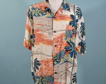 fa6dd6cc Ocean Current Vintage Rayon Hawaiian Aloha Shirt, Ocean Palm Trees Tiki  Lounge Shirt L