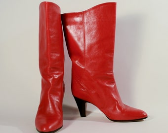 92d42be556e Vintage 80s Red Leather Boots