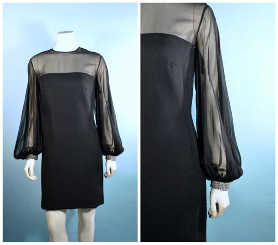 Vintage 60s Black Chiffon Mod Poet Sleeves + Rhine