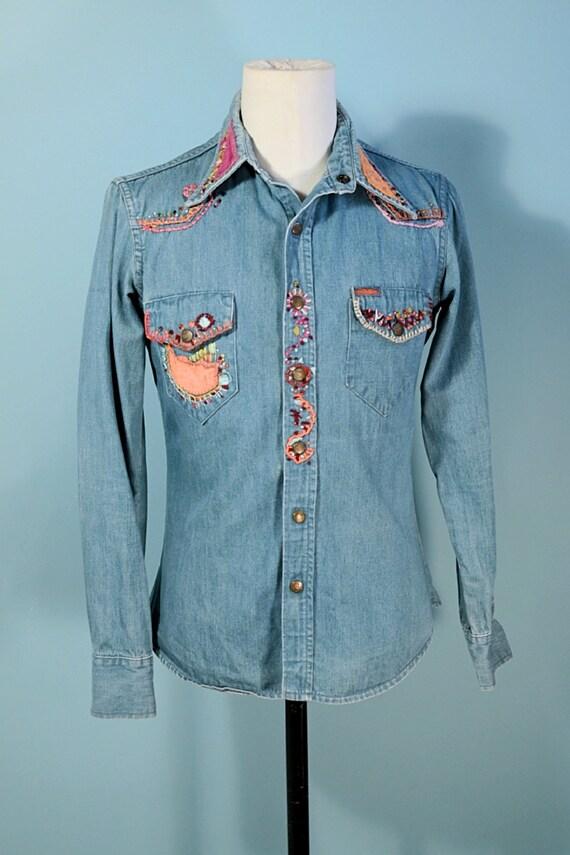 RARE Vintage 60s/70s Landlubber Embroidered Denim… - image 6