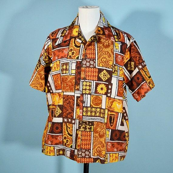 Blue and White Hawaiian Shirt 1960s Vintage Geometric Print Aloha Shirt Cotton Barkcloth Hawaii Tiki Shirt Tropical Polynesian Tribal Surfer