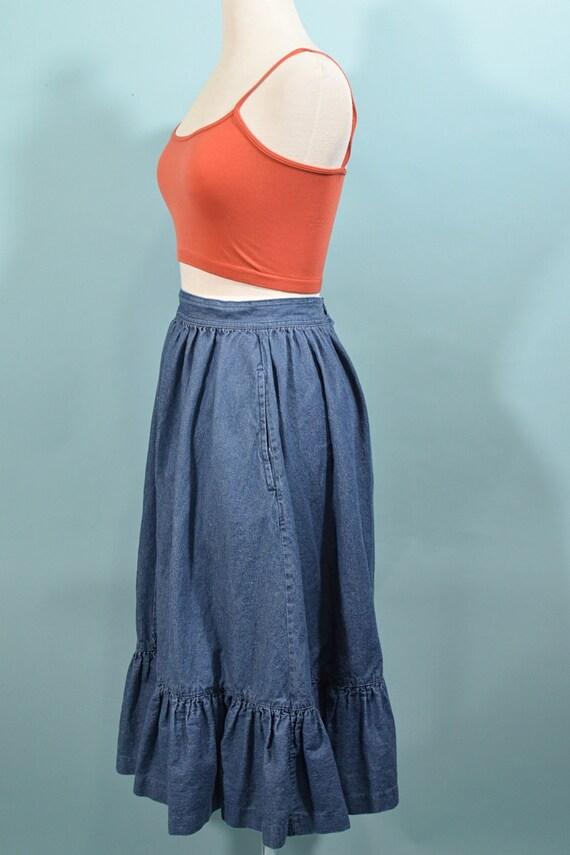 Vintage Denim Prairie Skirt, Country Western Cott… - image 7