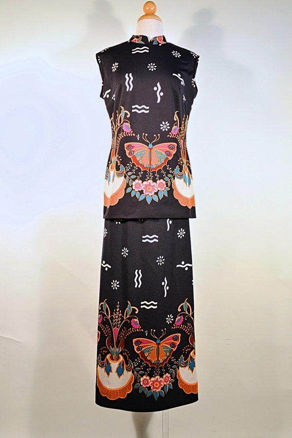 Vintage 60's Psychedelic Butterfly Print Bohemian… - image 3