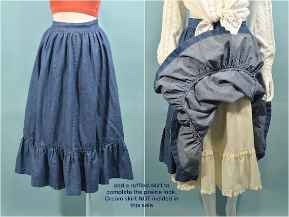 Vintage Denim Prairie Skirt, Country Western Cott… - image 8