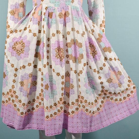 1960s Faux Patchwork Cottagecore Mini Dress, Fair… - image 8