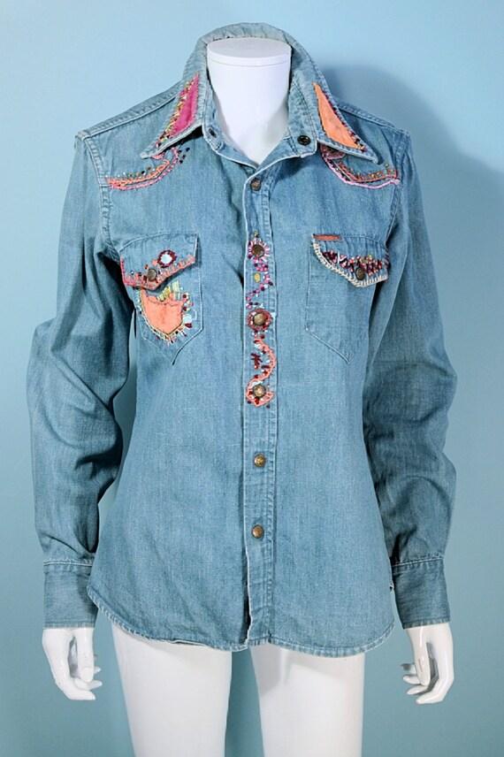 RARE Vintage 60s/70s Landlubber Embroidered Denim… - image 1
