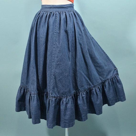 Vintage Denim Prairie Skirt, Country Western Cott… - image 2