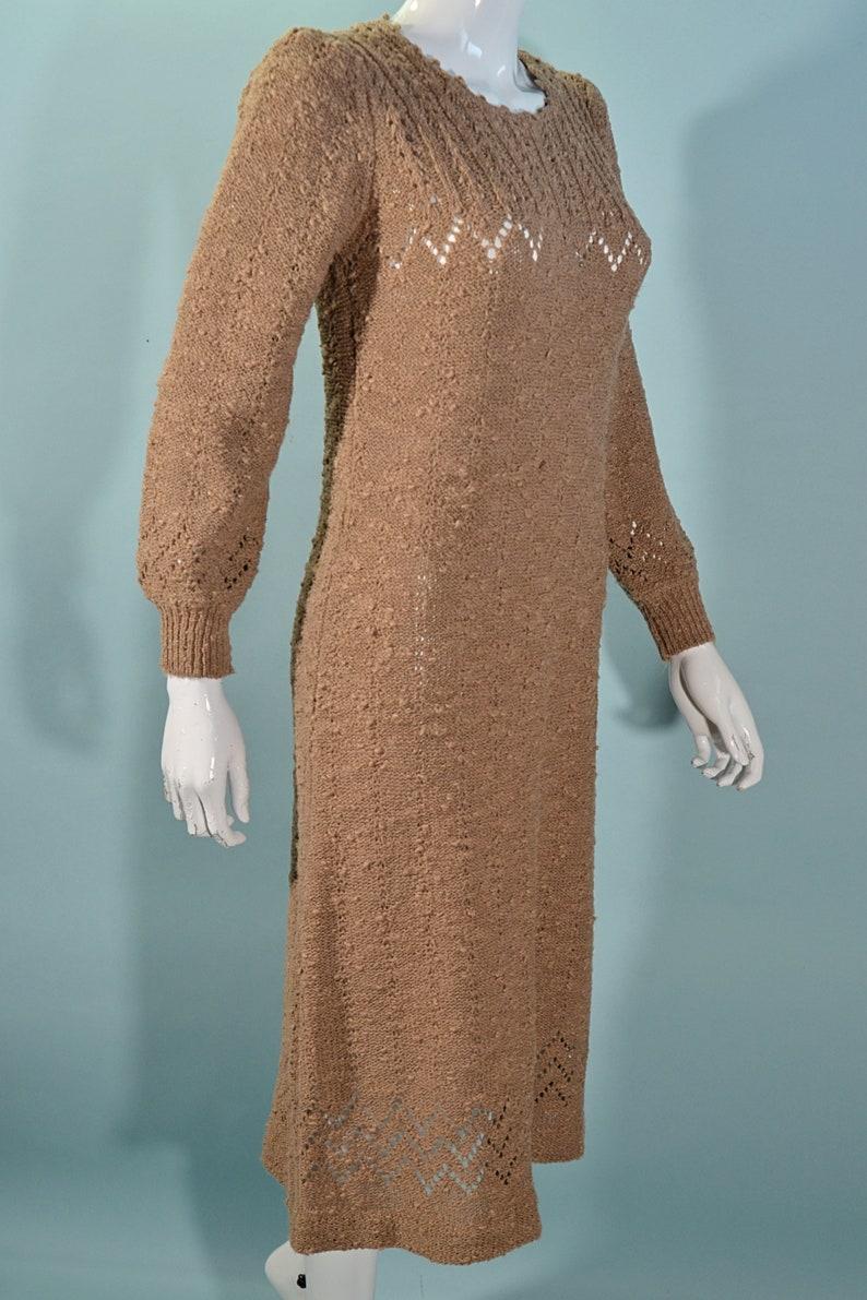 Contessa Visconte 70s Knit Midi Dress Crochet Knit Sweater Dress S