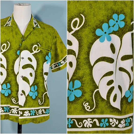Vintage 60s/70s Hawaiian Shirt Floral Pattern, Co… - image 6