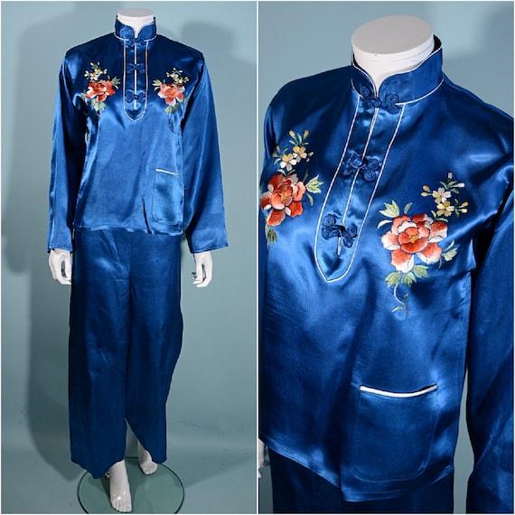 Vintage 50s Blue Chinese Asian Pajama Set Lounge W