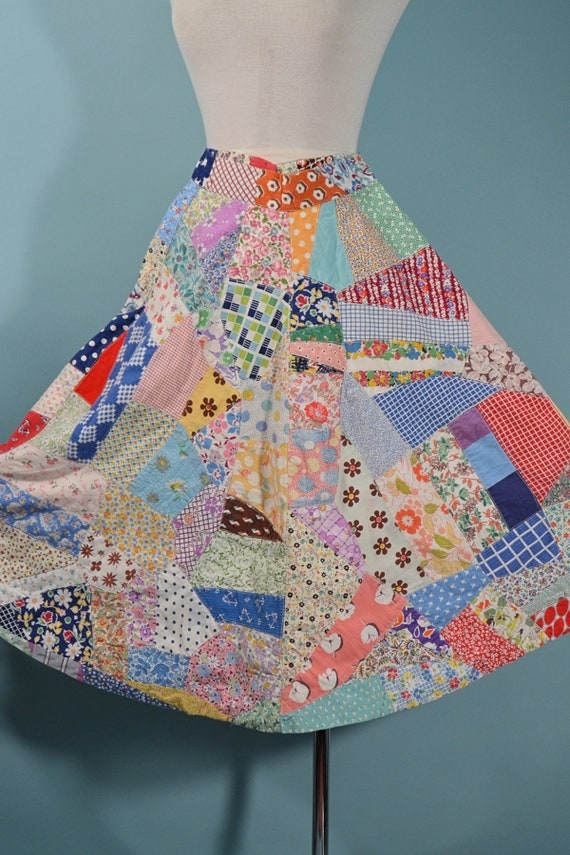 Vintage 60s Patchwork Skirt, 30s Feed Sack Quilt,