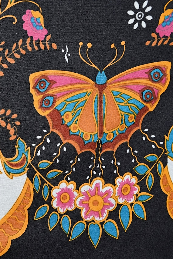 Vintage 60's Psychedelic Butterfly Print Bohemian… - image 4