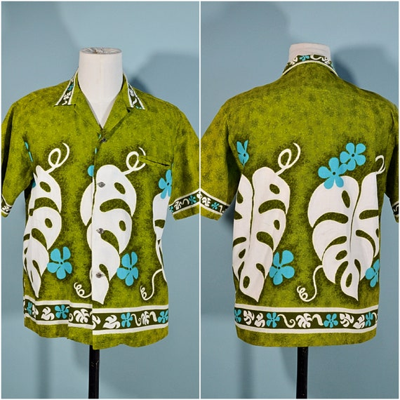 Vintage 60s/70s Hawaiian Shirt Floral Pattern, Co… - image 1