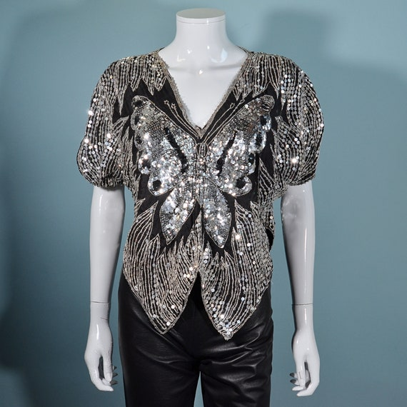 Vintage 70s Sequin Butterfly Top, Silver Boho Disc