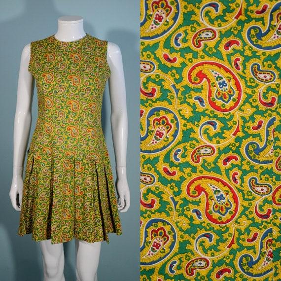 Vintage 60s Mod Mini Pleated Skirt Sleeveless Pais