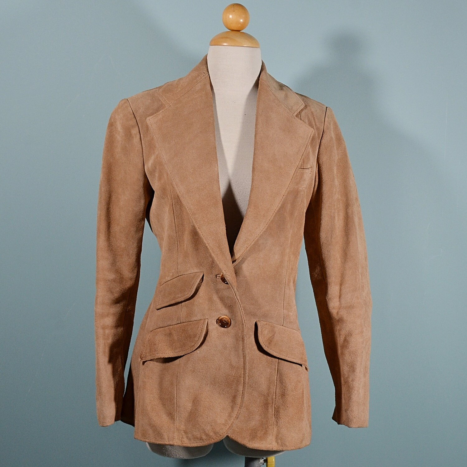 6c2a51326d84f Vintage 70s Womens Tan Suede Fitted Blazer Preppy Western Mod