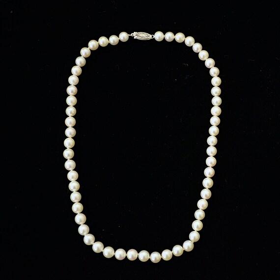1990's Unworn Single Strand Cultured Pearls 14K W… - image 2