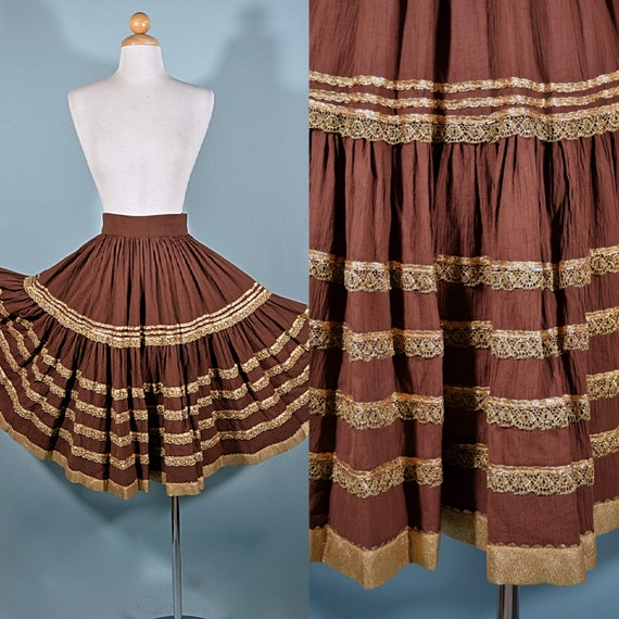 Vintage 50s Brown + Gold Patio Skirt, Full Circle