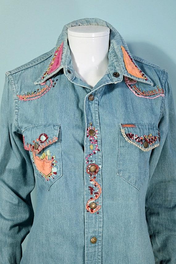 RARE Vintage 60s/70s Landlubber Embroidered Denim… - image 2