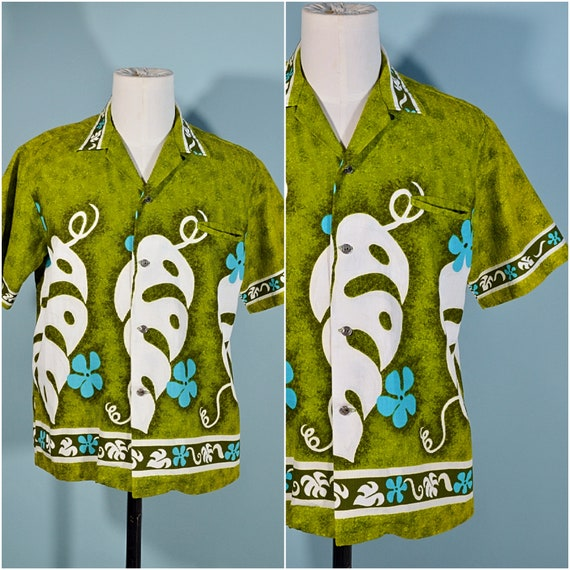 Vintage 60s/70s Hawaiian Shirt Floral Pattern, Co… - image 3