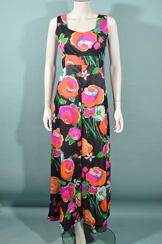 Vintage 70s Hawaiian Jumpsuit Palazzo Pants, Maxi… - image 3
