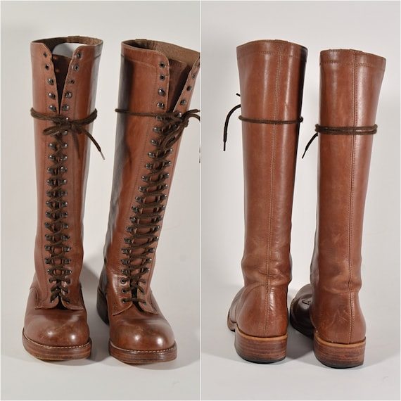 Vintage 60s Lace Up Leather Boots, Granny Campus P