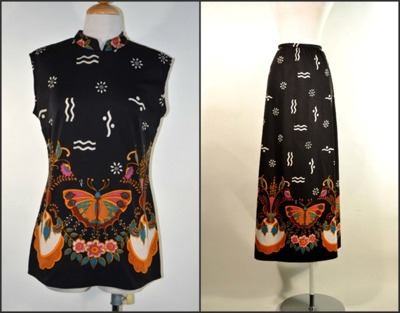 Vintage 60's Psychedelic Butterfly Print Bohemian… - image 6