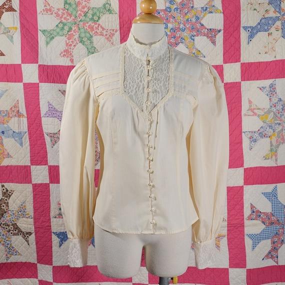 Vintage Gunne Sax Blouse, Prairie Cottagecore Lace