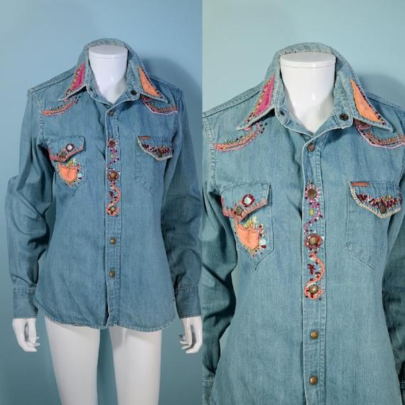 RARE Vintage 60s/70s Landlubber Embroidered Denim… - image 4