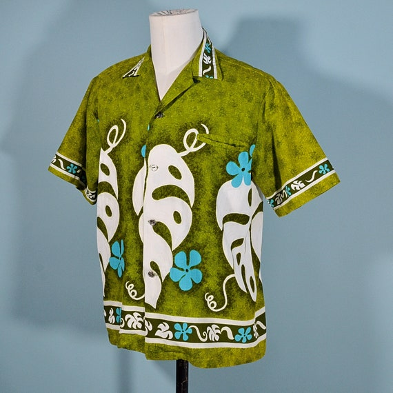 Vintage 60s/70s Hawaiian Shirt Floral Pattern, Co… - image 5