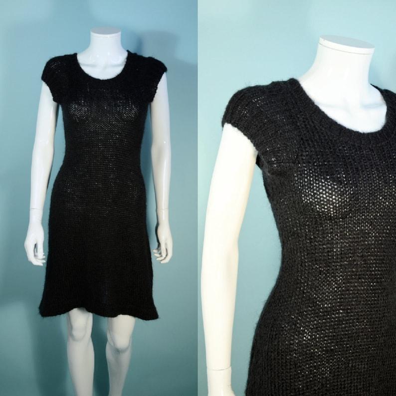 9a8d0dbfd1832 90s Betsey Johnson Black Knit Sweater Dress Cap Sleeve Flare