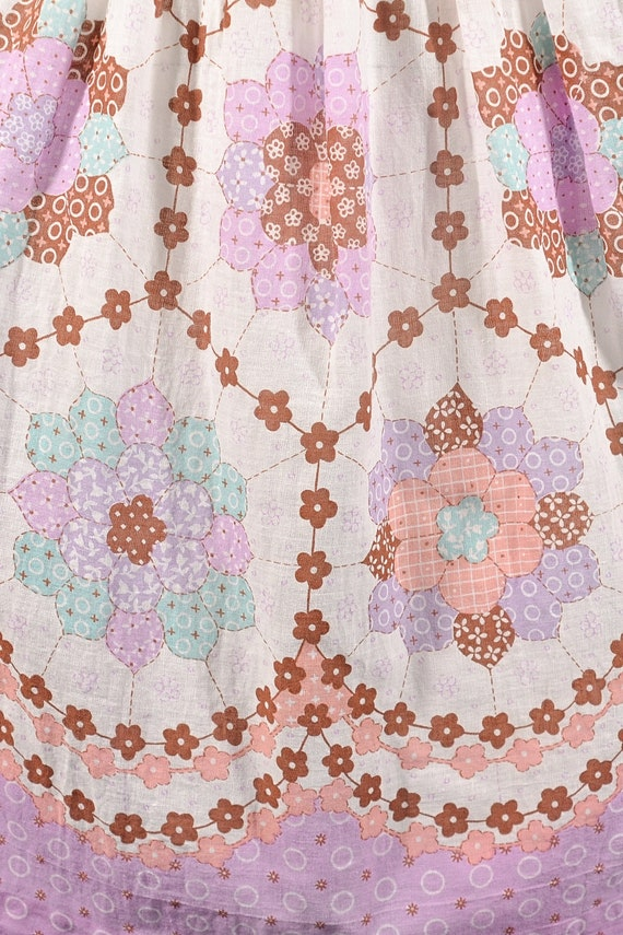 1960s Faux Patchwork Cottagecore Mini Dress, Fair… - image 10