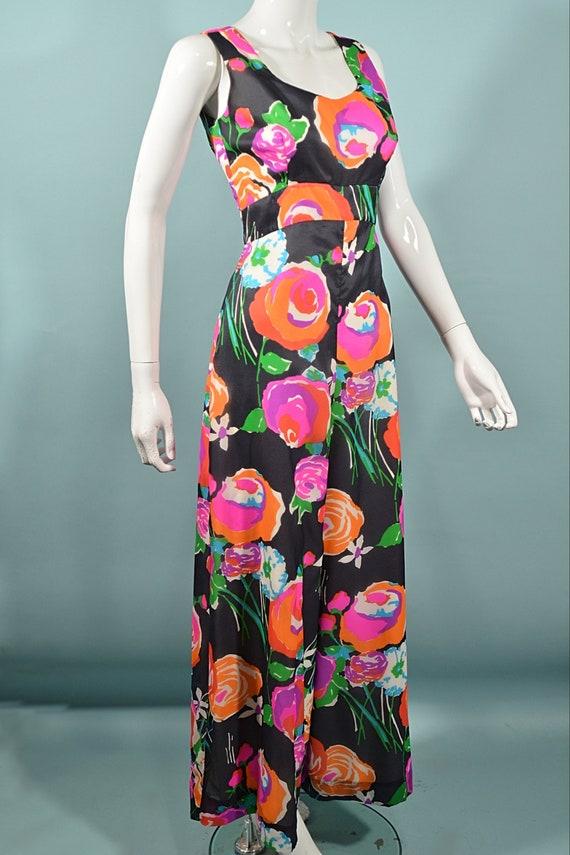 Vintage 70s Hawaiian Jumpsuit Palazzo Pants, Maxi… - image 5