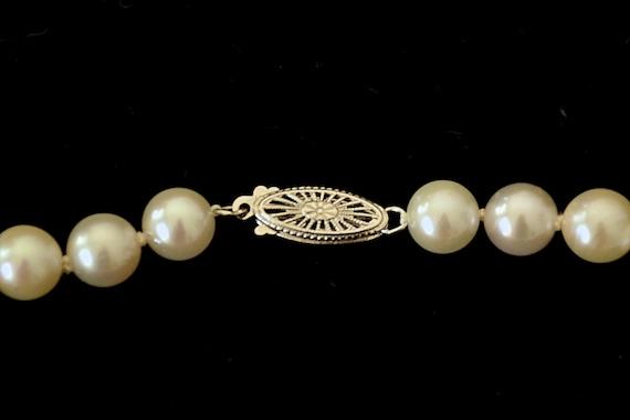 1990's Unworn Single Strand Cultured Pearls 14K W… - image 7