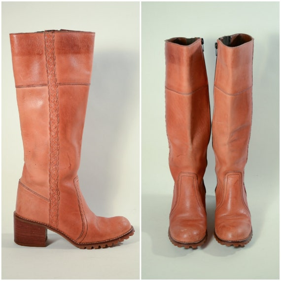 Vintage 70s Boots, Tan Leather + Chunky Heels Made