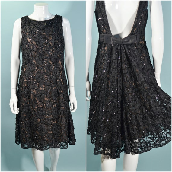 1960s Black Lace Sequin Dress, Deep V Back Cocktai
