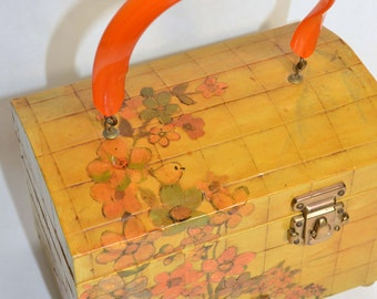 Vintage 70s Hand Crafted Decoupage Mod Preppy Handbag /Signed Floral Bird Decorated Bag Bakelite Lucite Handle Box Purse