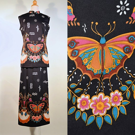 Vintage 60's Psychedelic Butterfly Print Bohemian