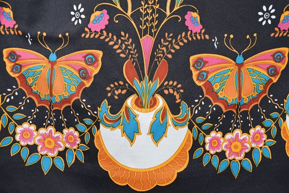 Vintage 60's Psychedelic Butterfly Print Bohemian… - image 2