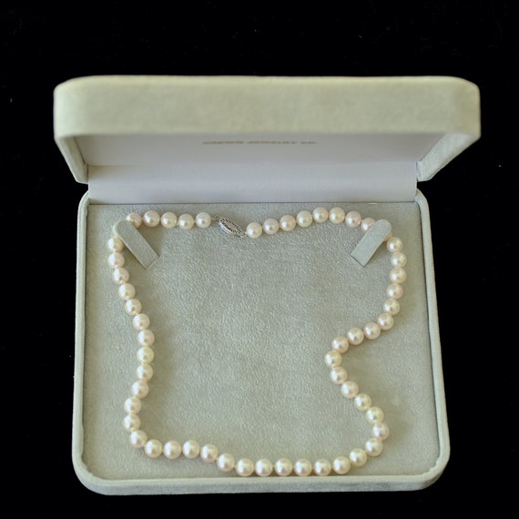 1990's Unworn Single Strand Cultured Pearls 14K Wh