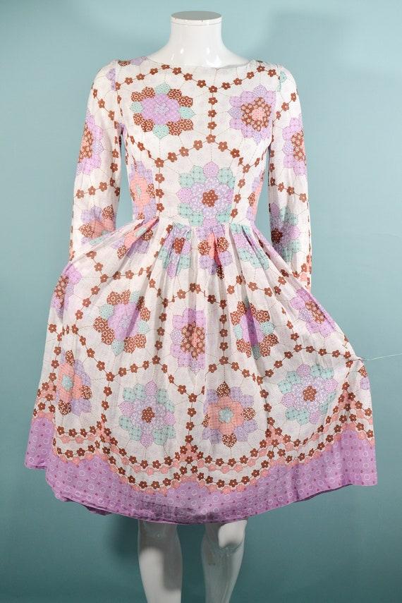 1960s Faux Patchwork Cottagecore Mini Dress, Fair… - image 6