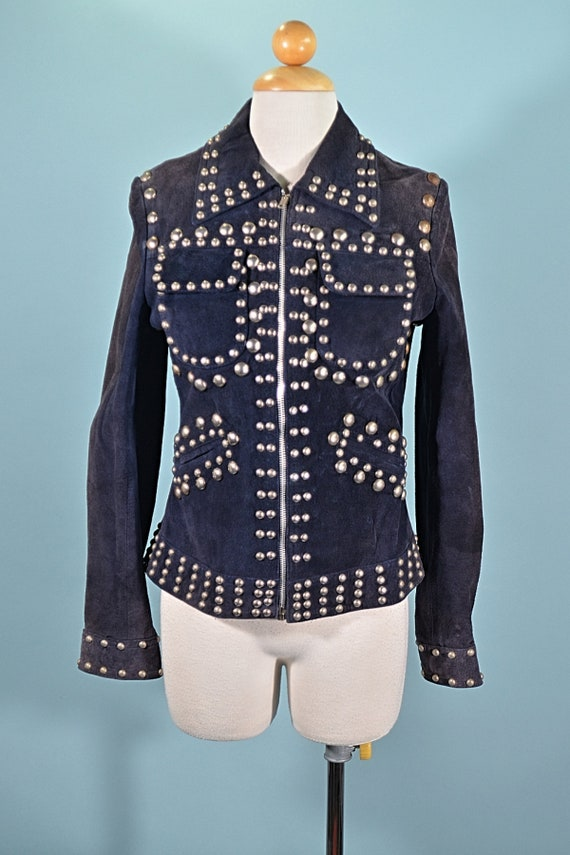 Vintage 70s Studded Navy Suede Jacket Wolf Brother